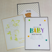 Set of baby cards, congratulations, pregnancy, birth, christening, 3 cards