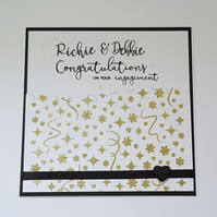 White and gold, engagement card, congratulations, personalised, hand stamped