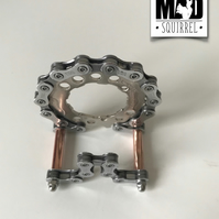 Unique Bicycle Chain, Sprockets and Copper Business Card Holder