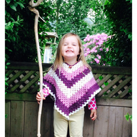 Kids Basic V Poncho- pdf crochet pattern