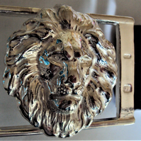 The Lion Solid Sterling Silver Belt Buckle