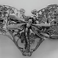 """The Butterfly & Dragonfly"" Solid Sterling Silver Belt Buckle"