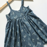 Girls Blue Dress, Plane Print Dress, Girls Sundress, Girls Party Outfit