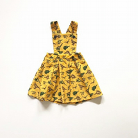 Girls Dinosaur Dress, Girls Pinafore Dress, Birthday Outfit for Toddlere