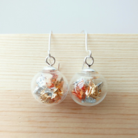 24 Carat Gold, Silver And Copper Drop Earrings