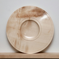 Sycamore hand-turned wood bowl, 37cm x 3.5cm (approx.)