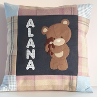 Handmade Personalised Teddy Bear Nursery Cushion