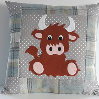 Handmade Baby Highland Cow Nursery Cushion