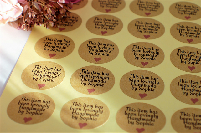 3 A4 sheets of 35mm kraft stickers,  product stickers, handmade with love