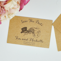 10 Kraft Card Save the Dates, Rustic Save the Date, Wedding Date Reminder