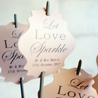 12 Tags for sparklers, Let love sparkle, Wedding send off