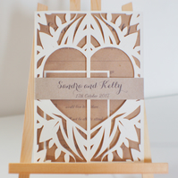 Sample Rustic Cut Wedding Gatefold Wedding Invitation, Kraft Card Wedding