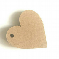 20 Blank kraft card heart shaped tags, diy tags, tags for weddings