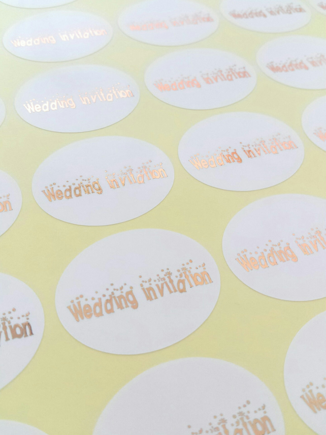 45 foiled wedding invitation stickers