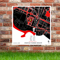 Spartak Arena, Moscow - World Cup 2018 Gift Russia Stadium Map Football Print
