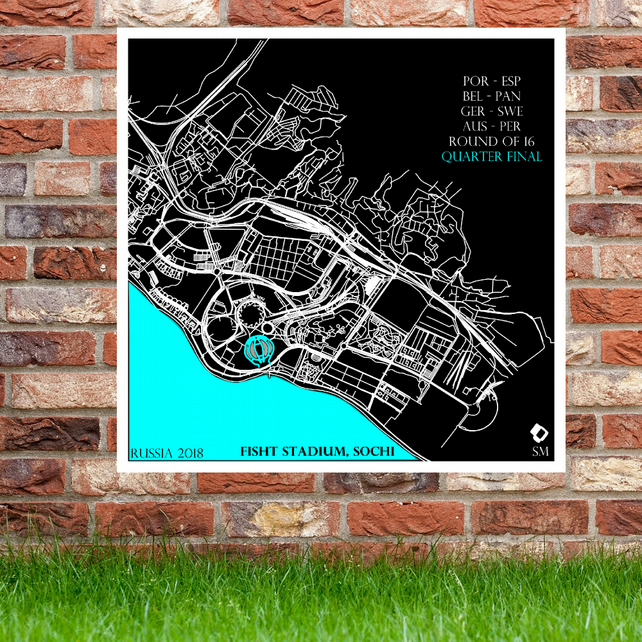 Fisht Stadium, Sochi - Russia World Cup 2018 Stadium Map Print Gift Collection