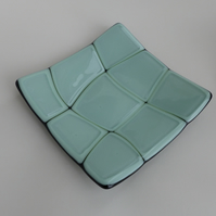 Fused Glass Square Shallow Dish, 15cm