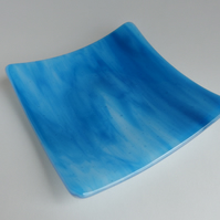 Fused Glass Square Streaky Turquoise Plate