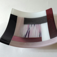 Fused Glass Striped Square Decorative Bowl 18cm