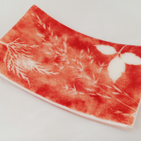 Fused Glass Leaf Imprint Dish