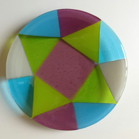 Fused Glass Round Harlequin Bowl