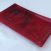 Red and Black Fused Glass Decorative Dish