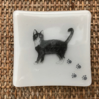 Fused Glass Cat  Decorative Trinket Dish