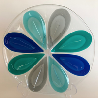 Fused Glass decorative plate, 24cm, coloured teardrops