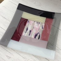 Fused Glass Striped Square Decorative Plate 27cm