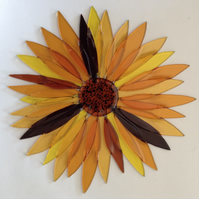Fused Glass Sunflower Suncatcher Wall Art