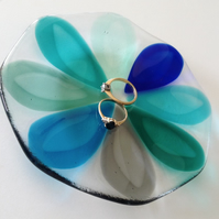 Fused Glass decorative trinket dish, teardrop design