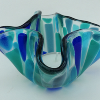 Fused glass tea light holder ornament, blue and green