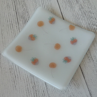 Fused Glass  Decorative Trinket Dish 11cm - Cherries and Strawberries