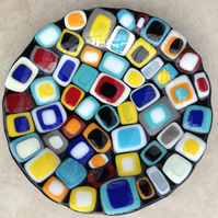 Handmade Fused Glass Decorative Plate 'Stacked Squares'