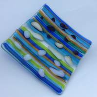 Fused Glass Trinket Dish, Tea Light or Candle Holder