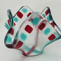 Fused glass tea light or candle holder