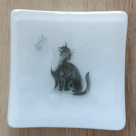 Handmade Fused Glass Decorative Trinket Dish, Black and White Cat Design
