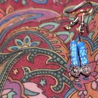 Beautiful Blue Floral Dangle Earrings
