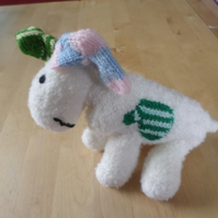 Hand knitted Snow dog