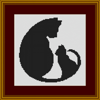 PDF Cross stitch Chart of Cat and Kitten
