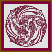 PDF Cross stitch Chart of 3 fish