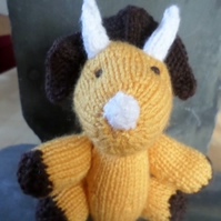 Hand knitted Triceratops