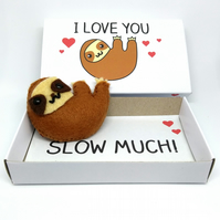 'I love you slow much' miniature felt sloth in a matchbox