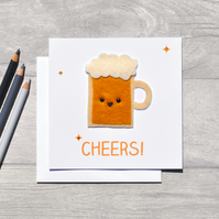 FELT Funny beer greeting card