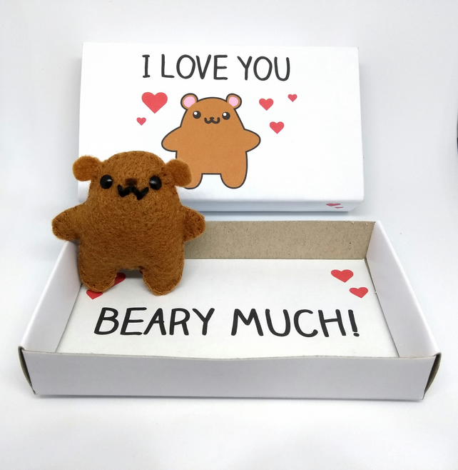 Bear magnet in a matchbox gift - 'I love you beary much'