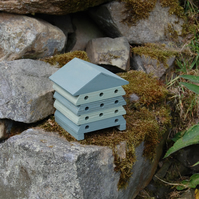 Green Stripe Mini Wooden Bee Hive House, Insect House, Gardening Gifts