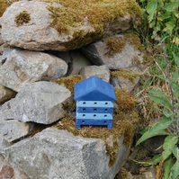 Blue Stripe Mini Wooden Bee Hive House, Insect House, Gardening Gifts