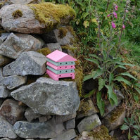 Pink & Green Stripe Mini Wooden Bee Hive House, Insect House, Gardening Gifts