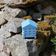 Periwinkle Blue Mini Wooden Bee Hive House, Insect House, Gardening Gifts