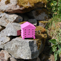 Hot Pink Wooden Bee Hive House, Insect House, Gardening Gifts